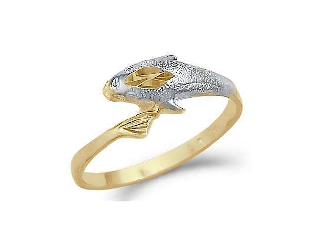 14k Yellow and White Gold Dolphin Fish Small Ring