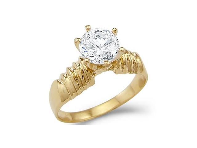Solid 14k Yellow Gold Solitaire Womens Engagement CZ Cubic Zirconia Ring New Round Cut 1.5 ct