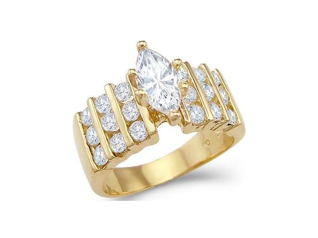 Solid 14k Yellow Gold Marquise CZ Cubic Zirconia Engagement Ring Large 2 ct.