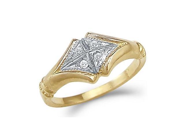 Solid 14k Yellow and White Gold Ladies CZ Cubic Zirconia Fashion Ring New