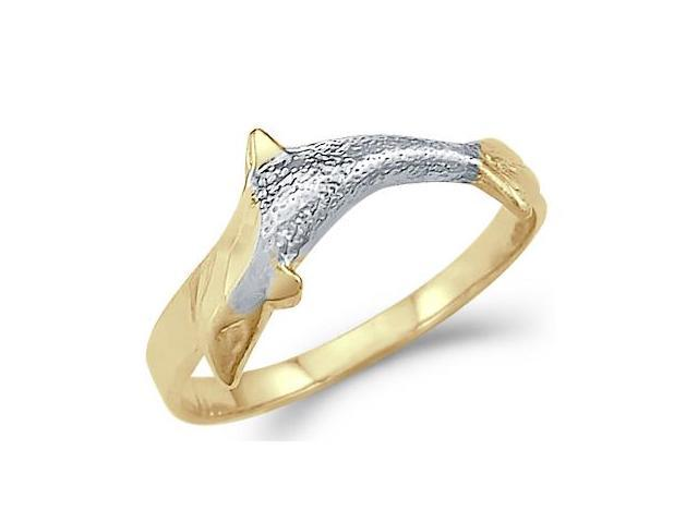 14k Yellow and White Gold Two Tone Dolphin Fish Ring Band