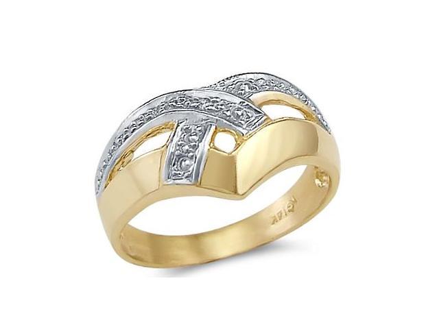 14k Yellow and White Gold Ladies Fashion Ring Band