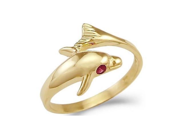 New Solid 14k Yellow Gold Dolphin Ruby Eye Ladies Ring