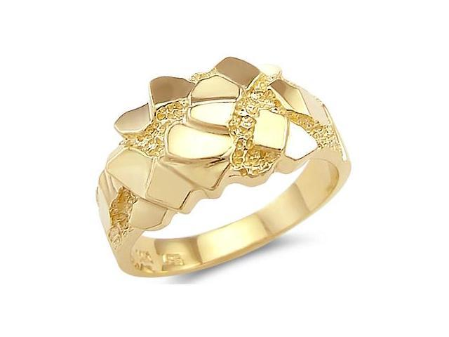 Solid 14k Yellow Gold Large Heavy Mens Nugget Band Ring
