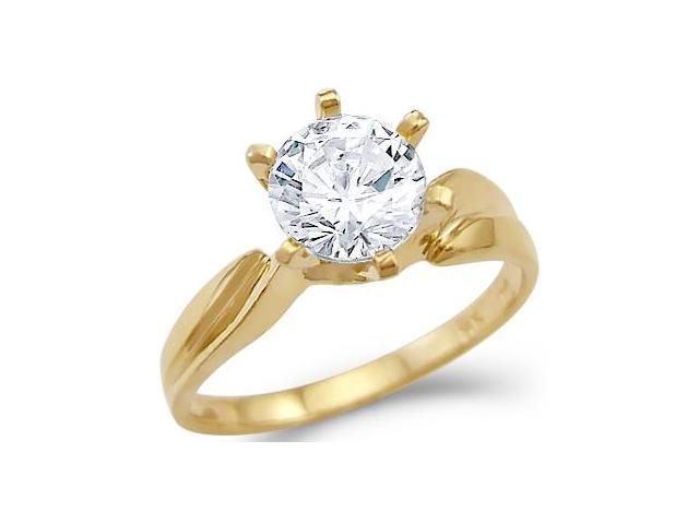 Solid 14k Yellow Gold Ladies Solitaire Engagement CZ Cubic Zirconia Ring New Round Cut 1.5 ct
