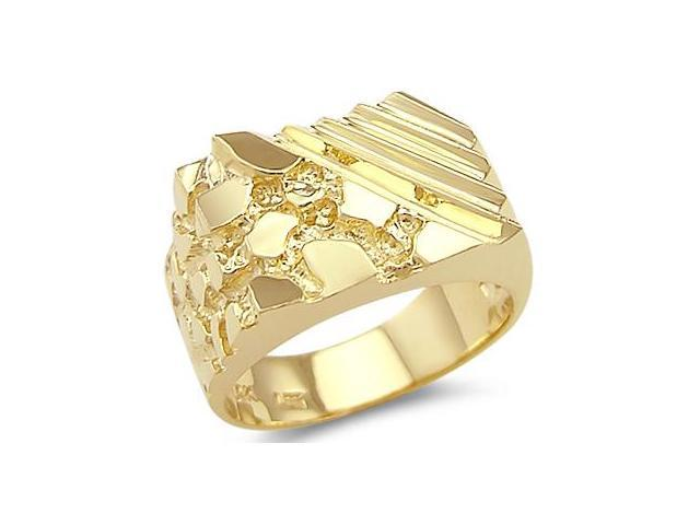 New Solid 14k Yellow Gold Unique Large Mens Nugget Ring
