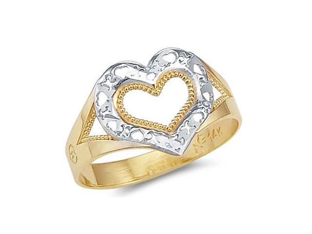 14k Yellow and White Gold Two Tone Heart Love XOX Ring
