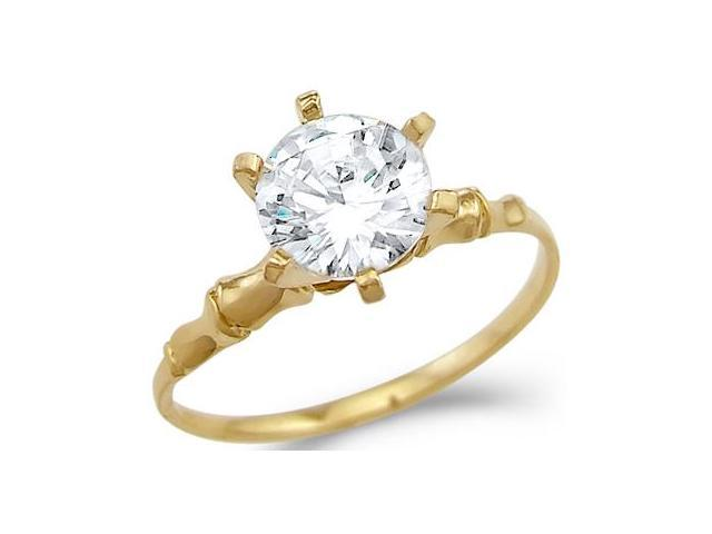 Solid 14k Yellow Gold New Unique Solitaire Engagement CZ Cubic Zirconia Ring Round Cut 1.5 ct