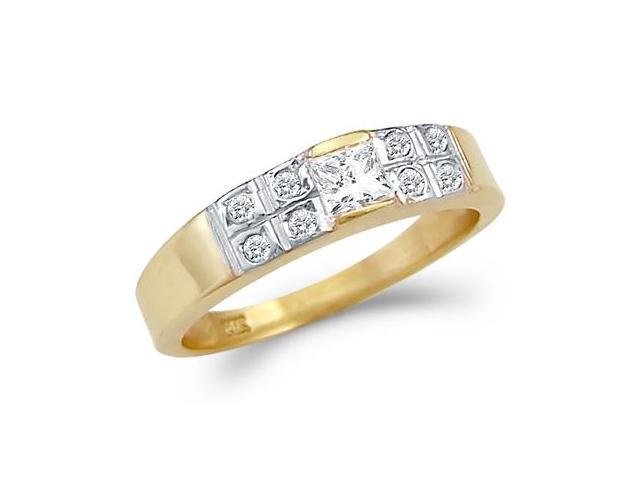Solid 14k Yellow Gold Solitaire CZ Cubic Zirconia Engagement Wedding Band 0.5 ct
