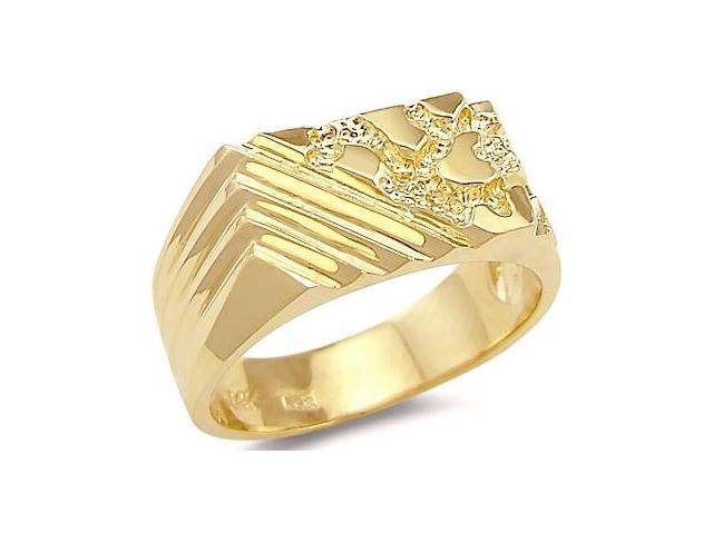 14k Solid Yellow Gold Mens Ladies Large Nugget Ring New