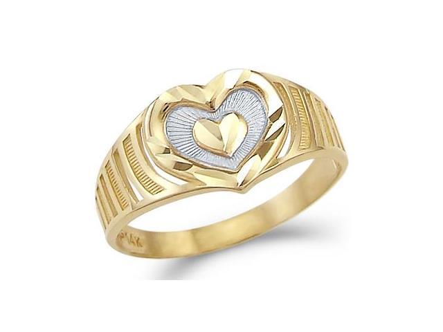 14k Yellow and White Gold Two Tone New Heart Love Ring