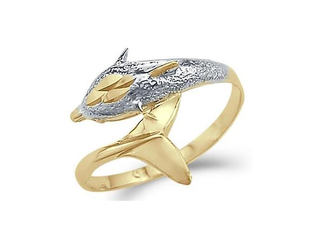 14k Yellow and White Gold Dolphin Fish Medium Ring