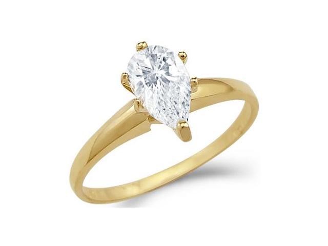 Solid 14k Yellow Gold Solitaire Pear Cut Engagement CZ Cubic Zirconia Ring 1.25 ct