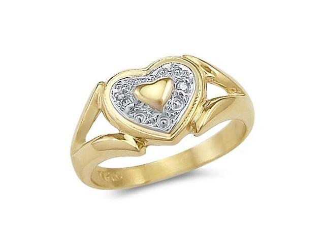 14k Yellow and White Gold Two Tone Heart Love Ring New
