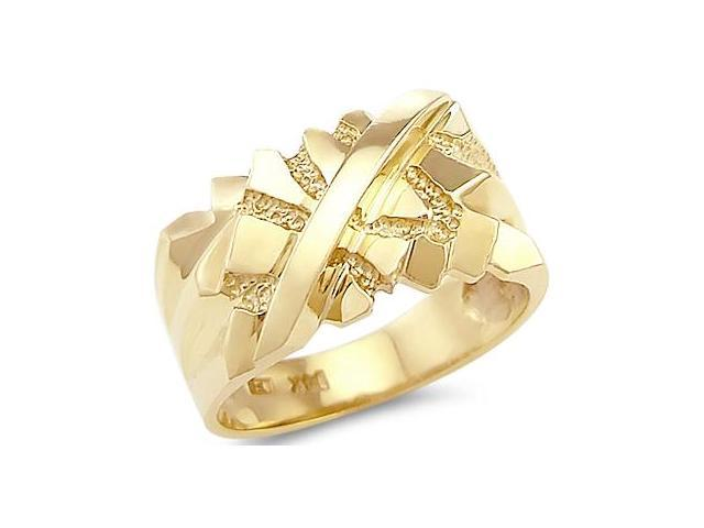 Solid 14k Yellow Gold Big Heavy Mens Nugget Ring Band