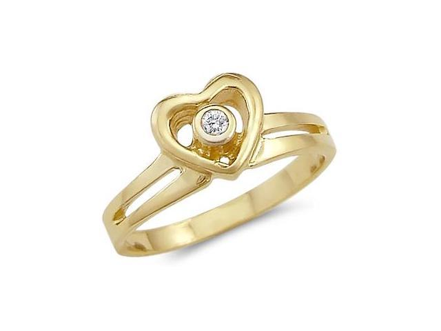 Solid 14k Yellow Gold Heart Love Solitaire Round CZ Cubic Zirconia Ring