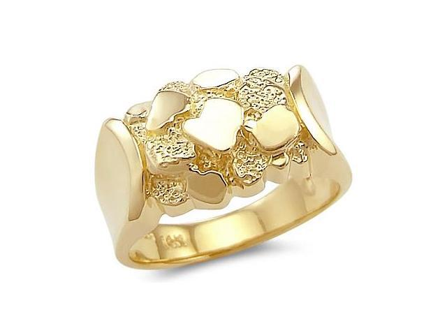 Large 14k Solid Yellow Gold Mens Ladies Nugget Ring Big