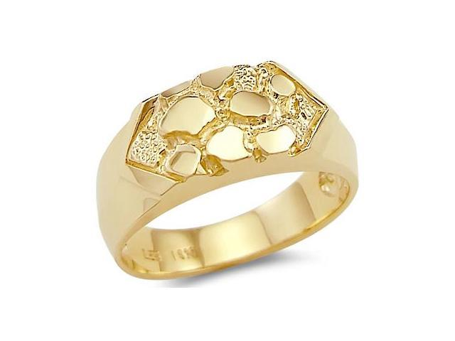 14k Solid Yellow Gold Ladies Mens Nugget Ring New