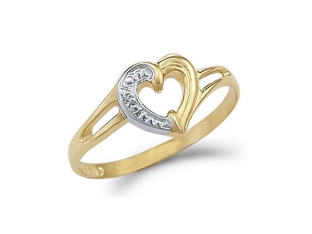 14k Yellow and White Gold Two Tone Ladies Heart Love Ring