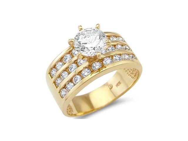 Solid 14k Yellow Gold Solitaire CZ Cubic Zirconia Large Engagement Ring Band Round Cut 2.0 ct