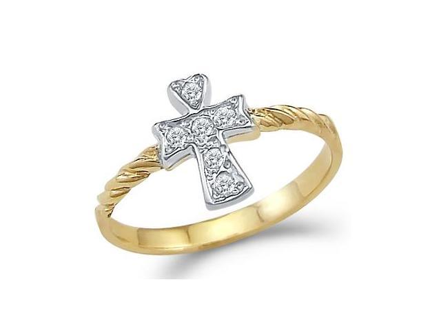 New 14k Yellow Gold Cross Cubic Zirconia Small Ring