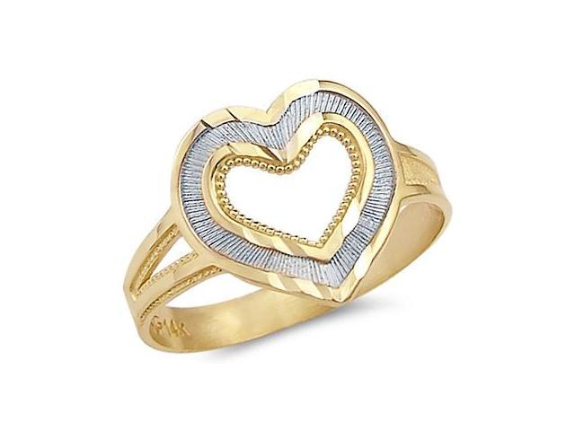 14k Yellow and White Gold Heart Love Fashion Ring