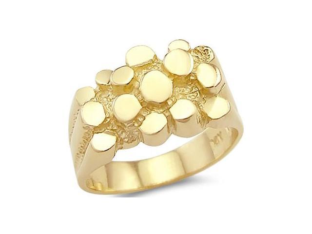 New 14k Solid Yellow Gold Large Mens Ladies Nugget Ring