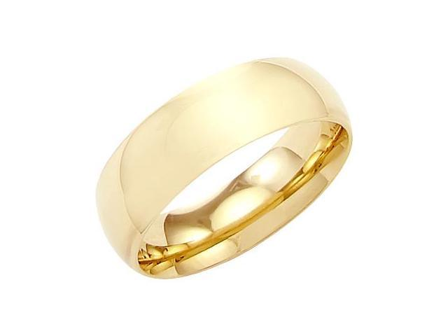 14k Solid Yellow Gold Plain Comfort Wedding Band Ring 7MM - Size11 - 8.9 Grams