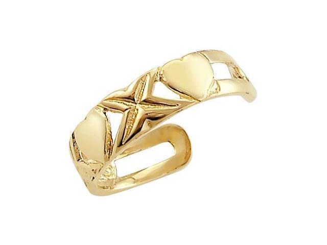 14k Yellow Gold Stylish Heart X O Love Toe Ring