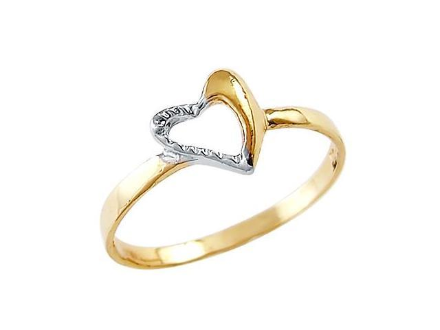 14k Yellow White Gold 2 Two Tone Heart Love Ladies Ring
