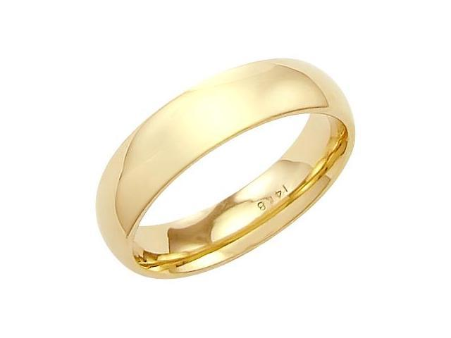 14k Solid Yellow Gold Plain Comfort Wedding Band Ring 5MM - Size 6 - 5.6 Grams