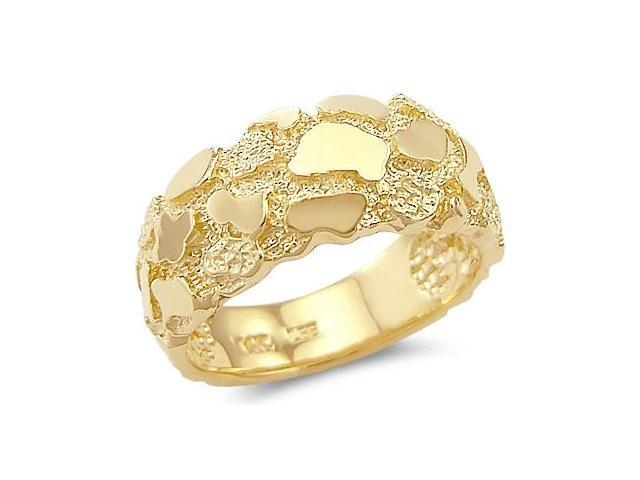 14k Solid Yellow Gold Mens Ladies Nugget Ring Band New