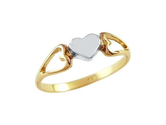 14k Yellow and White Gold Two Tone Heart Love Womens Ring