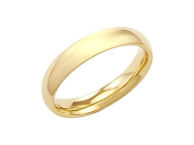 14k Solid Yellow Gold Plain Comfort Wedding Band Ring 4MM - Size 9 - 4.9 Grams