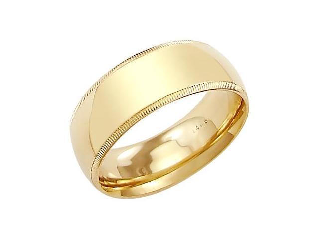 14k Solid Yellow Gold Milgrain Comfort Wedding Ring Band 8MM - Size 6 - 8.7 Grams