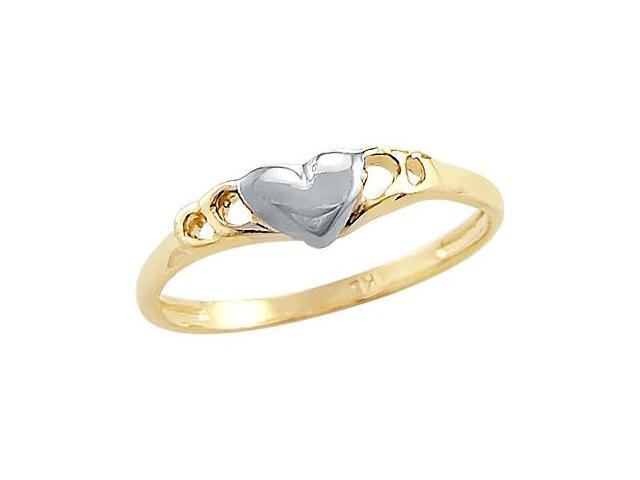 14k Yellow and White Gold Two Tone Heart Love Ladies Ring