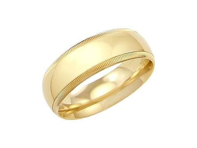 14k Solid Yellow Gold Milgrain Comfort Wedding Ring Band 7MM - Size 8 - 7.9 Grams