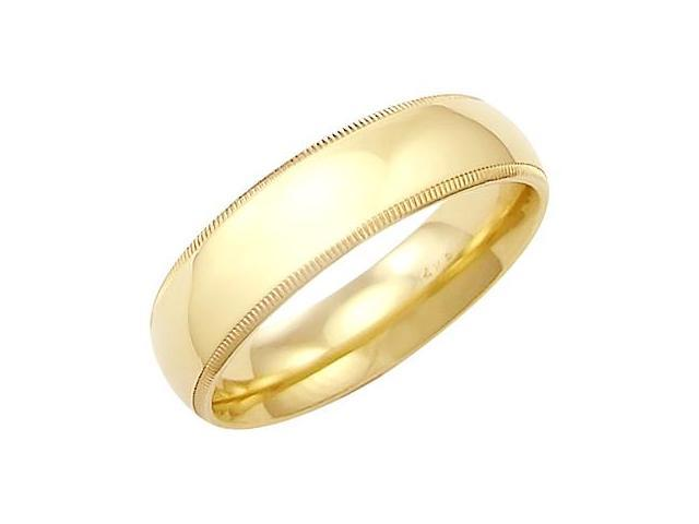 14k Solid Yellow Gold Milgrain Comfort Wedding Ring Band 6MM - Size 10 - 7.7 Grams