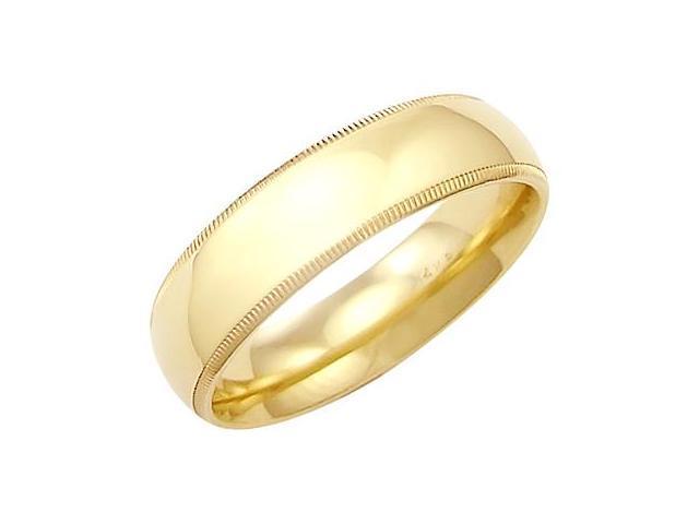 14k Solid Yellow Gold Milgrain Comfort Wedding Ring Band 6MM - Size 8 - 6.8 Grams