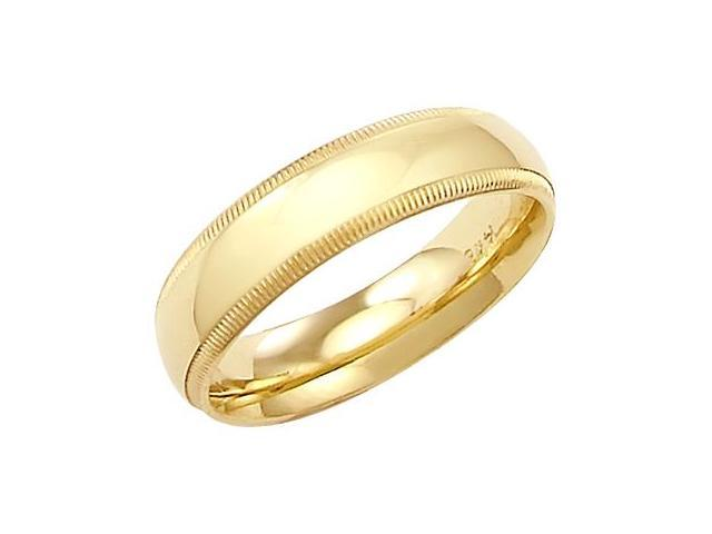 14k Solid Yellow Gold Milgrain Comfort Wedding Ring Band 5MM - Size 6 - 5.6 Grams