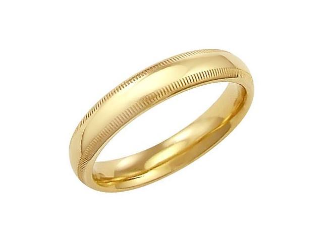 14k Solid Yellow Gold Milgrain Comfort Wedding Ring Band 4MM - Size 9 - 4.9 Grams