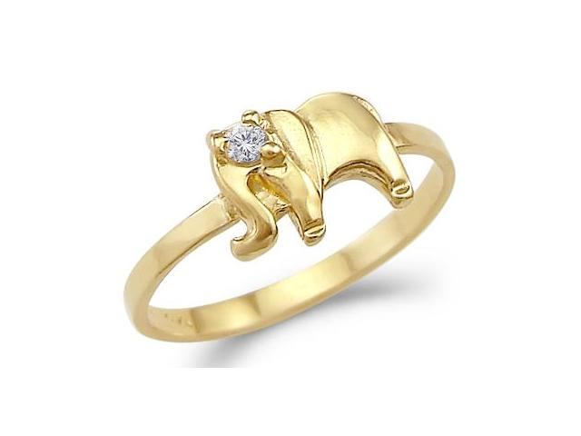 New Ladies Solid 14k Yellow Gold Small CZ Cubic Zirconia Elephant Ring