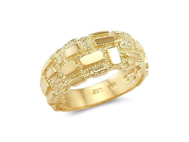 14k Solid Yellow Gold Ladies Mens Square Nugget Ring