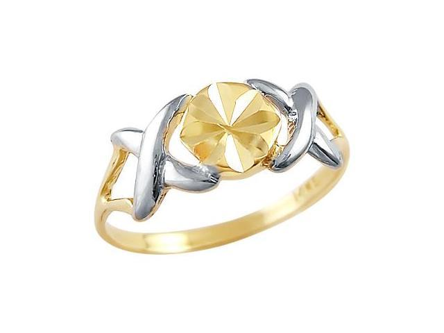 14k Yellow and White Gold Ladies Hugs and Kisses XOX Ring