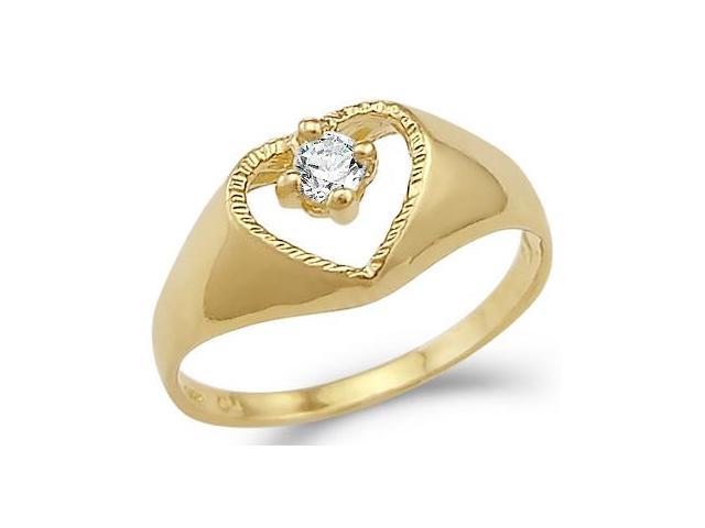 Solid 14k Yellow Gold Ladies Heart Love Solitaire CZ Cubic Zirconia Ring