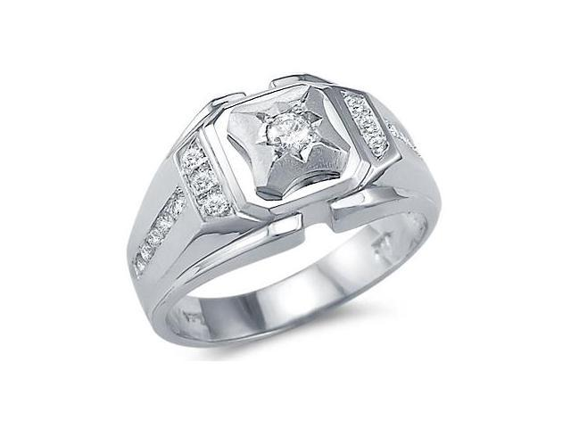 Solid 14k White Gold Mens Large Solitaire CZ Cubic Zirconia Fashion Ring