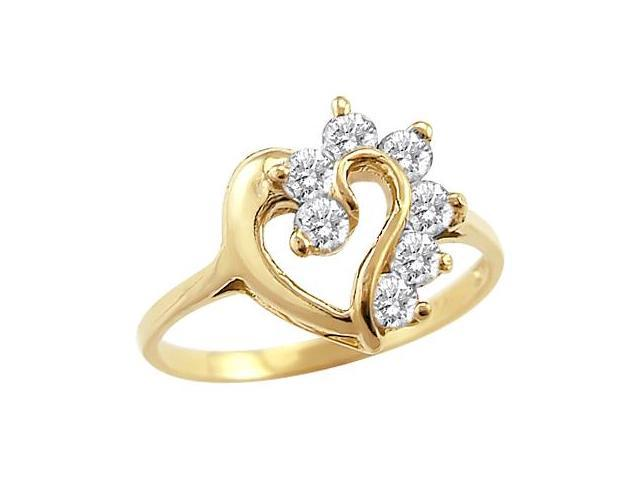 14k Yellow Gold Heart Simulated Diamond Fashion Ring