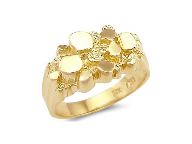 14k Solid Yellow Gold Ladies Mens Classic Nugget Ring