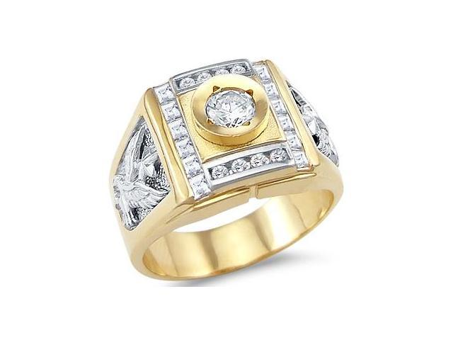 Solid 14k Yellow and White Gold Mens Eagle Solitaire CZ Cubic Zirconia Ring