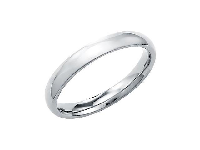 14k Solid White Gold Plain Comfort Wedding Band Ring 3MM - Size 8 - 3.5 Grams